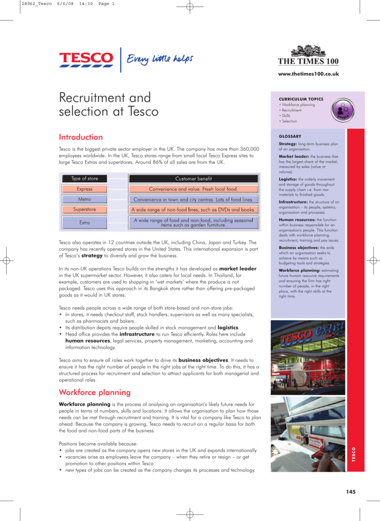 Recruitment And Selection At Tesco