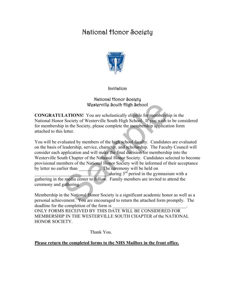 National Honor Society Invitation and Application