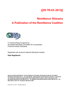 [[X9 TR-43–2013]] Remittance Glossary A Publication
