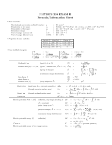 PHYSICS 208 EXAM II Formula/Information Sheet