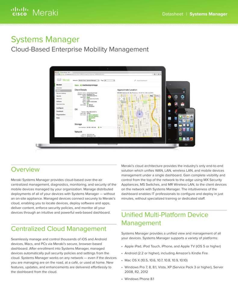 Systems Manager Datasheet - Meraki