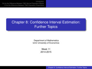 Chapter 8: Confidence Interval Estimation: Further Topics
