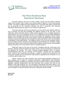 The Parol Evidence Rule Executive Summary