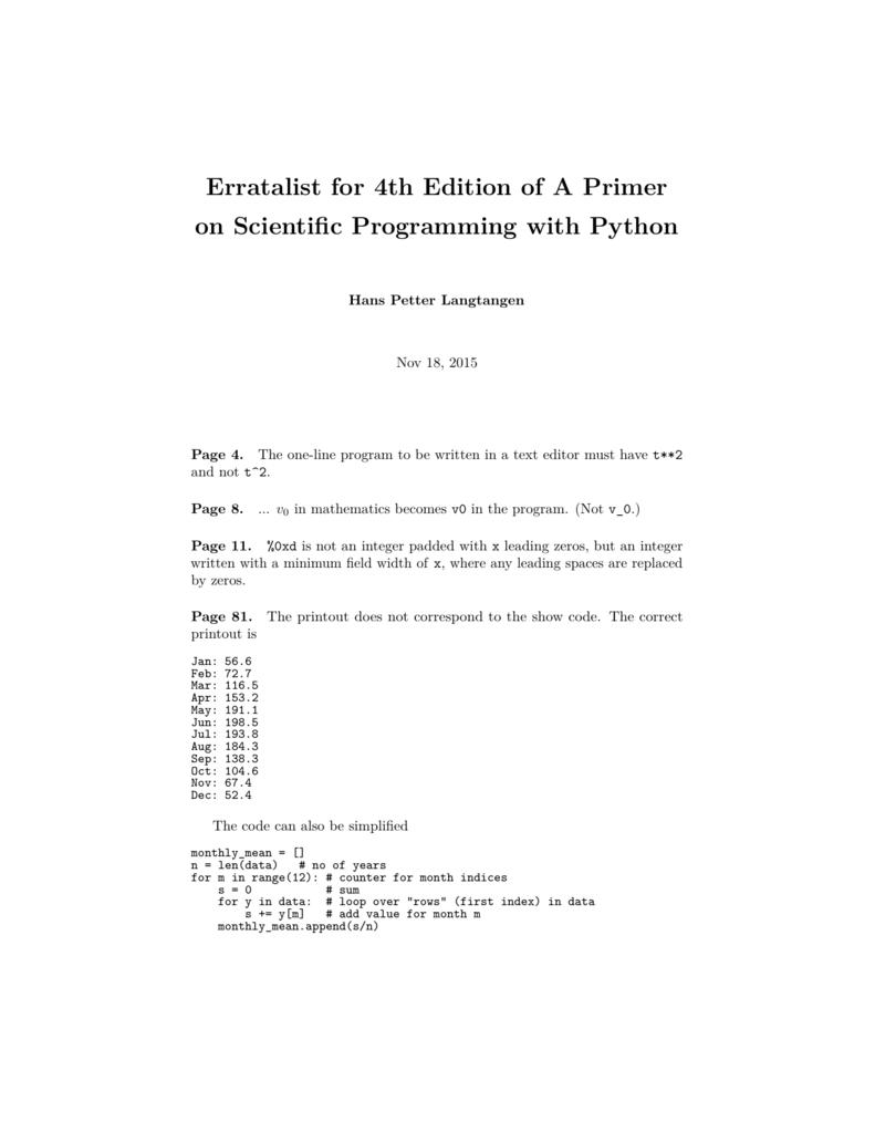 Erratalist for 4th Edition of A Primer on Scientific