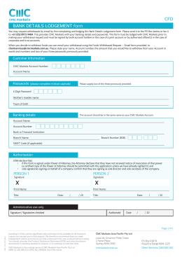 BANK DETAILS LODGEMENT form CFD