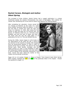 Rachel Carson, Biologist and Author Silent Spring