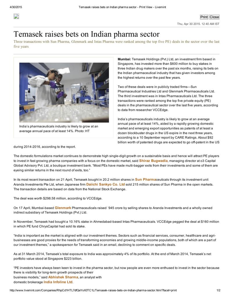 Temasek raises bets on Indian pharma sector