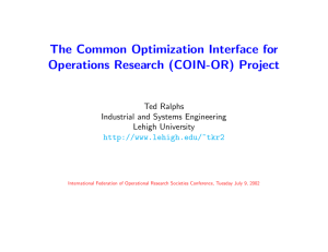 Introduction to the COIN-OR Optimization Suite - COR@L