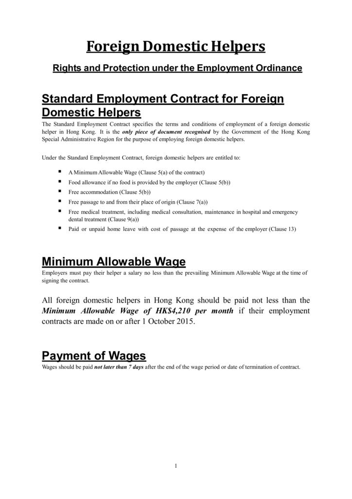 Foreign Domestic Helpers Rights And Protection Under The