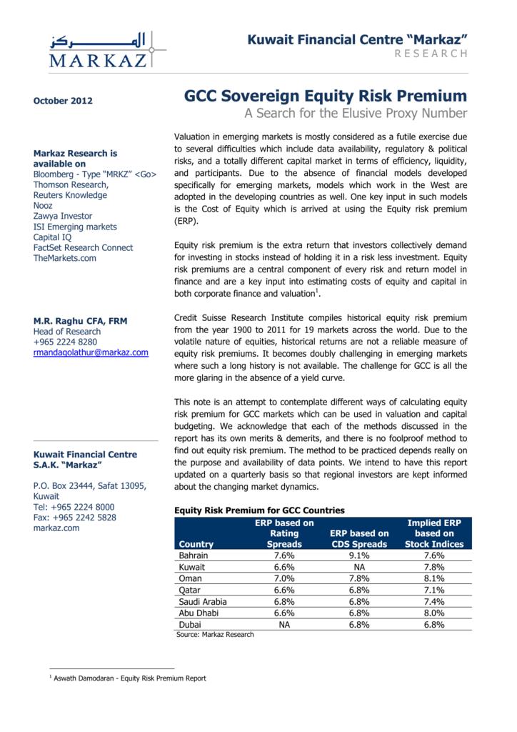 GCC Equity Risk Premium