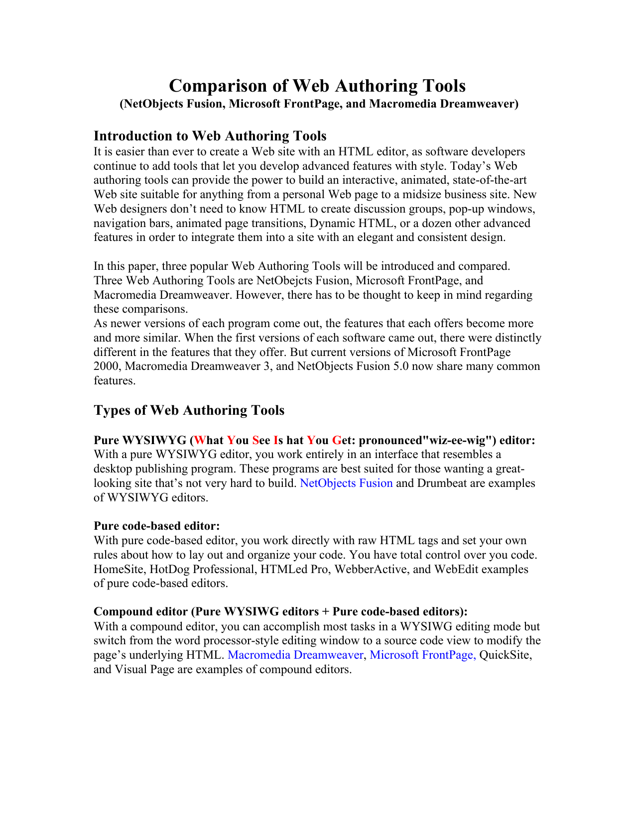 Comparison of Web Authoring Tools