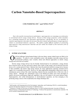 Carbon Nanotube-Based Supercapacitors