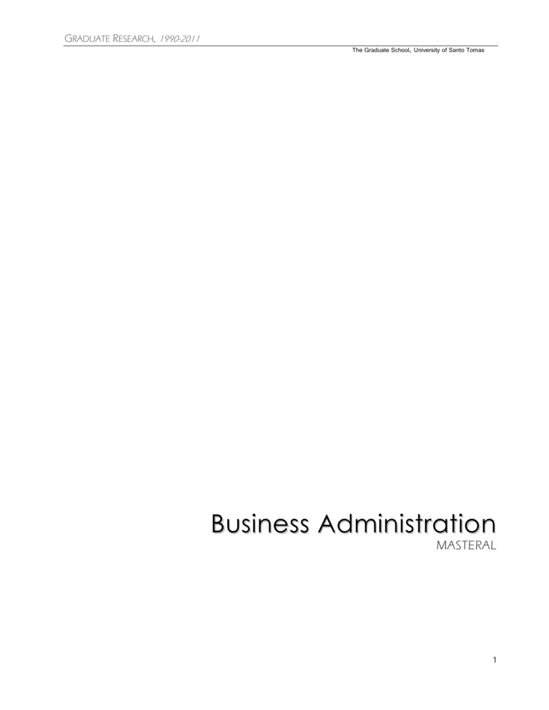 Business Administration - UST - Graduate School