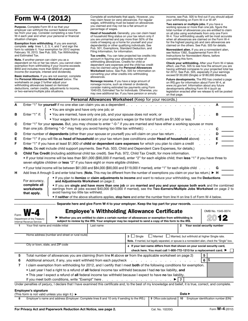 Deductions and adjustments worksheet on the w 4 form