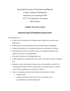 Chapter8-Behavioral Aspects of Management Control Systems