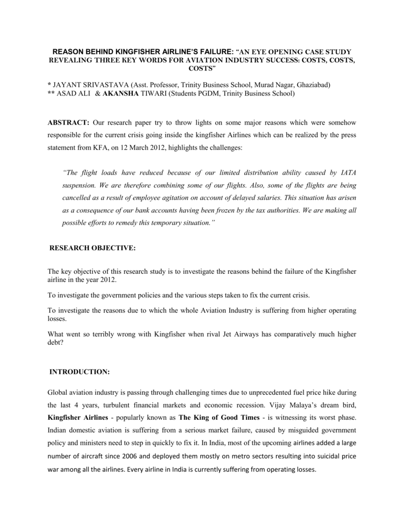 research paper on aviation industry