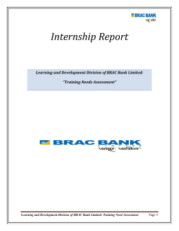 Internship Report - BRAC University Institutional Repository