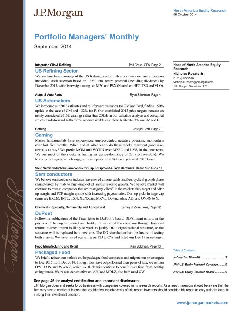 Portfolio Managers' Monthly