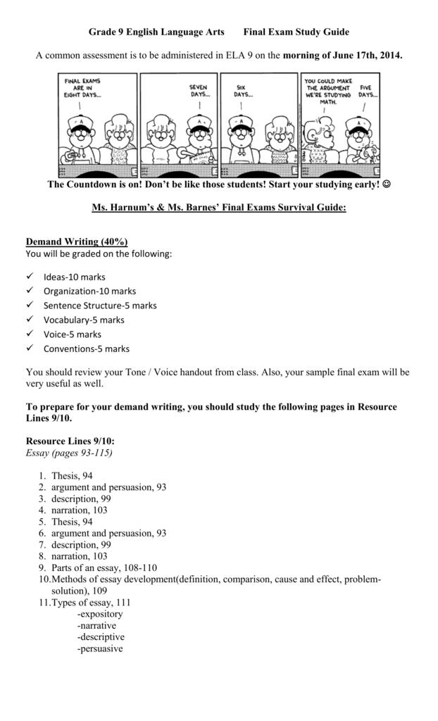 English 1201 Midterm Exam Study Guide