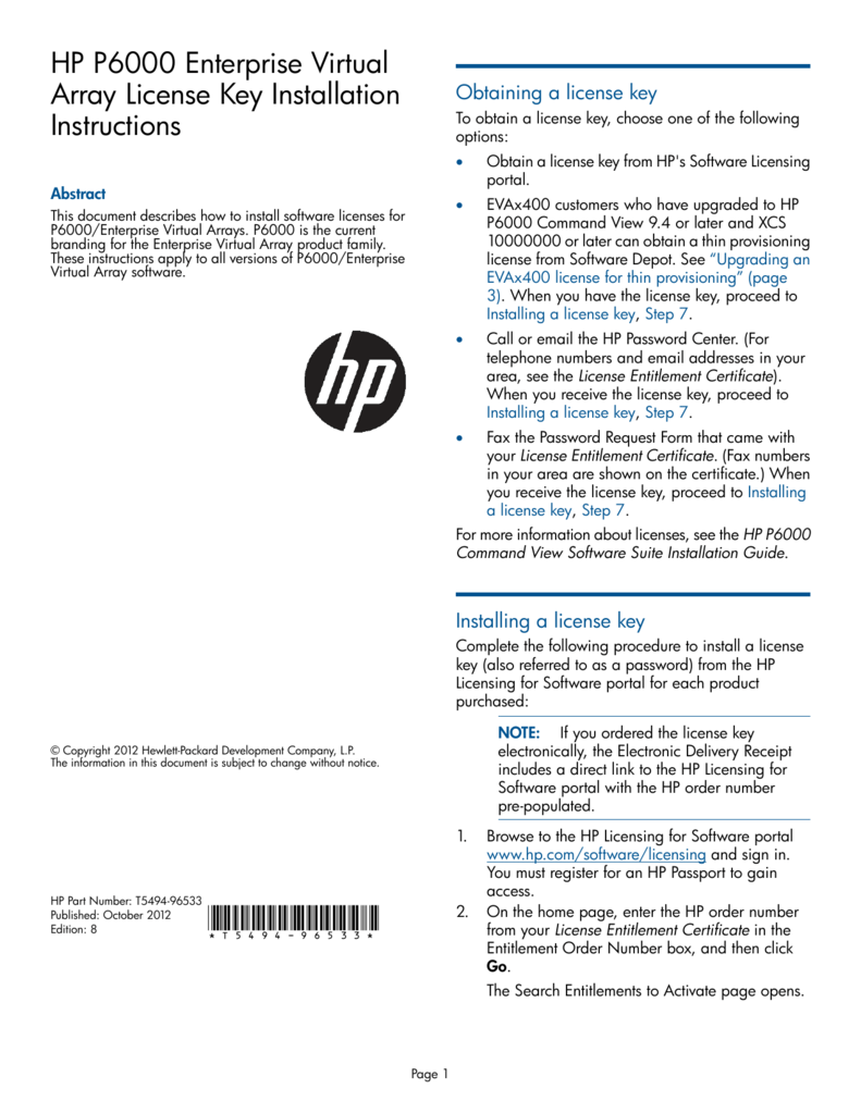 HP P6000 Enterprise Virtual Array License Key Installation Instructions