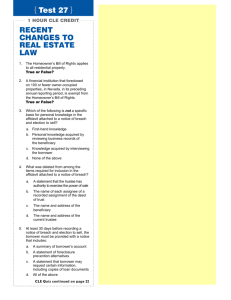 { Test 27 } RECENT CHANGES TO REAL ESTATE LAW
