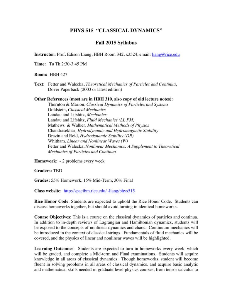 "PHYS 515 ""CLASSICAL DYNAMICS"" Fall 2015 Syllabus"