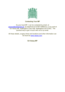 Contacting Your MP As your local MP, I can be contacted by email