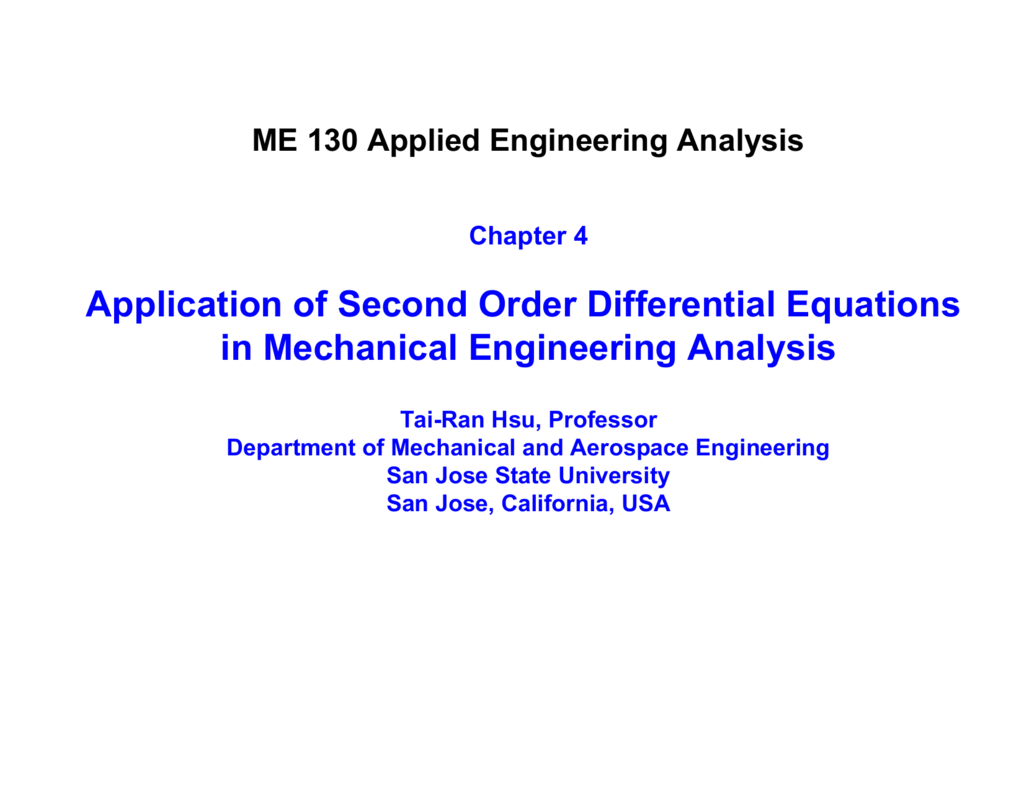 Application of Second Order Differential Equations in Mechanical