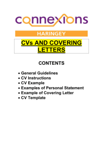 CVs AND COVERING LETTERS