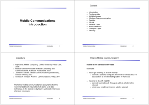 Mobile Communications Introduction