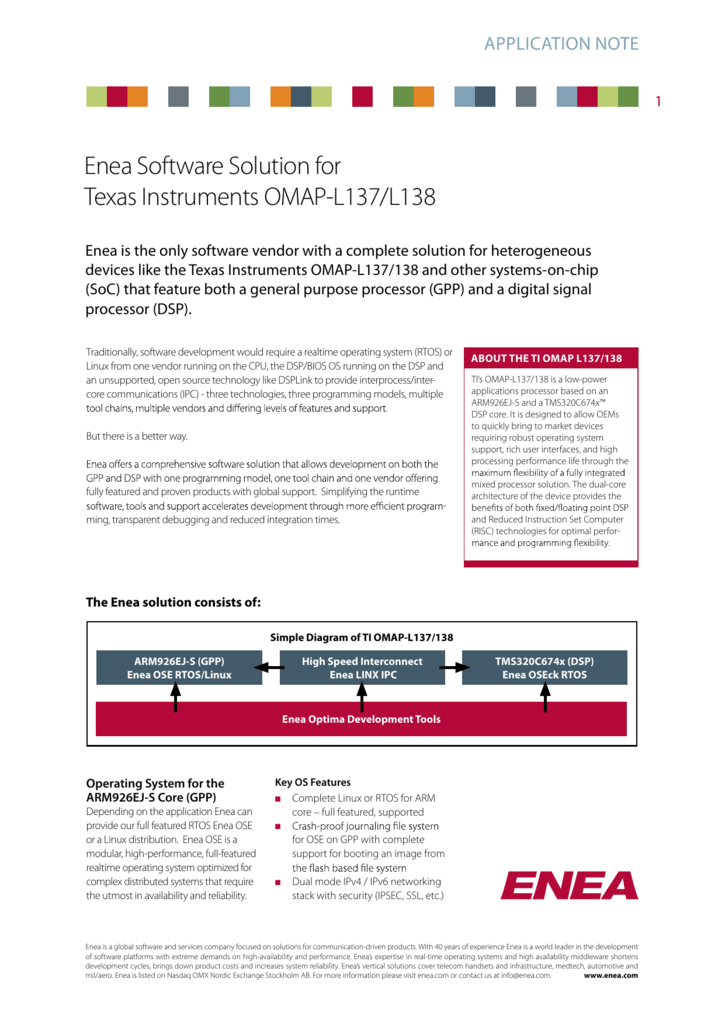 Enea Software Solution for Texas Instruments OMAP