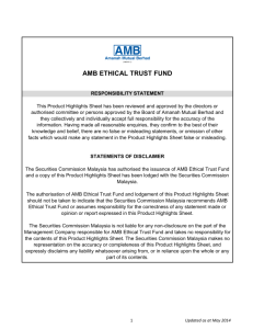 AMB VALUE TRUST FUND, AMB ETHICAL TRUST FUND AND
