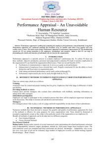 Performance Appraisal - An Unavoidable Human Resource