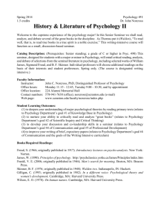 History & Literature of Psychology I II