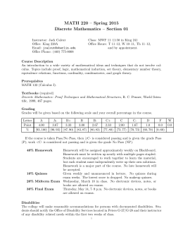 MATH 220 – Spring 2015 Discrete Mathematics – Section 01
