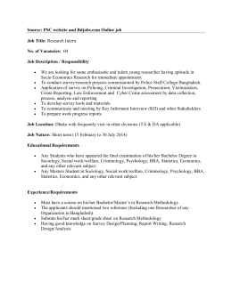 PSC website and Bdjobs.com Online job Job Title: Research Intern