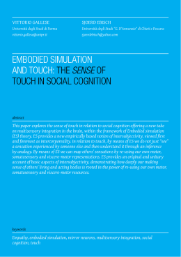 Embodied Simulation and Touch: The Sense of Touch in Social