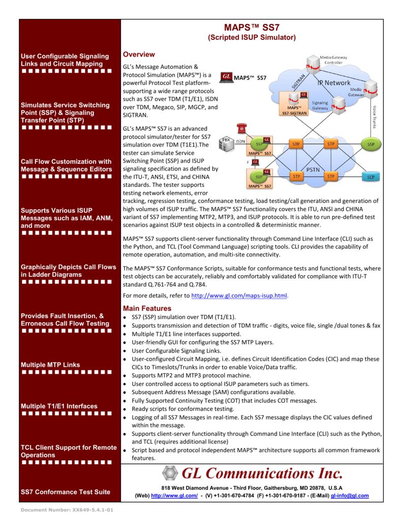 MAPS™ SS7 - GL Communications Inc