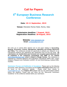 Call for Papers 5 European Business Research Conference