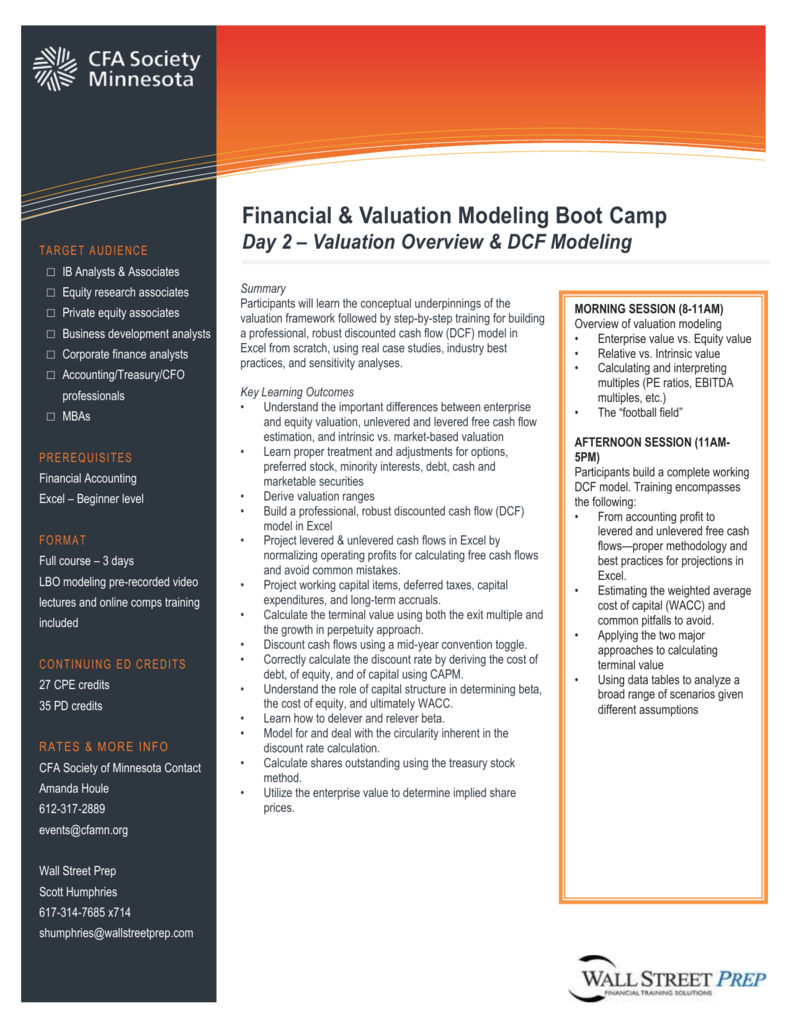 Financial & Valuation Modeling Boot Camp