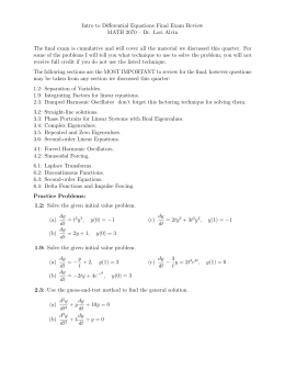 Intro to Differential Equations Final Exam Review MATH 2070 – Dr