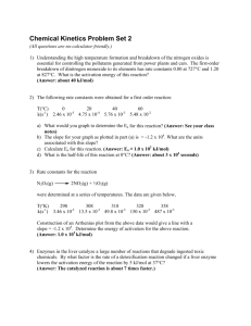 Chemical Kinetics Problem Set 2