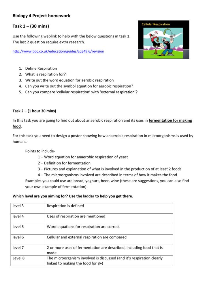 Biology 4 Project Homework Task 1 30 Mins