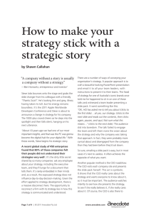 How to make your strategy stick with a strategic story