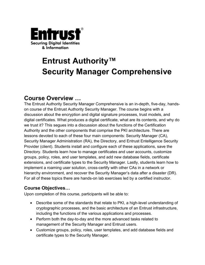 Entrust Authority Security Manager Comprehensive Course