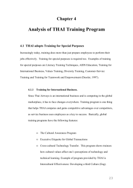 Chapter 4: Analysis of Training programs