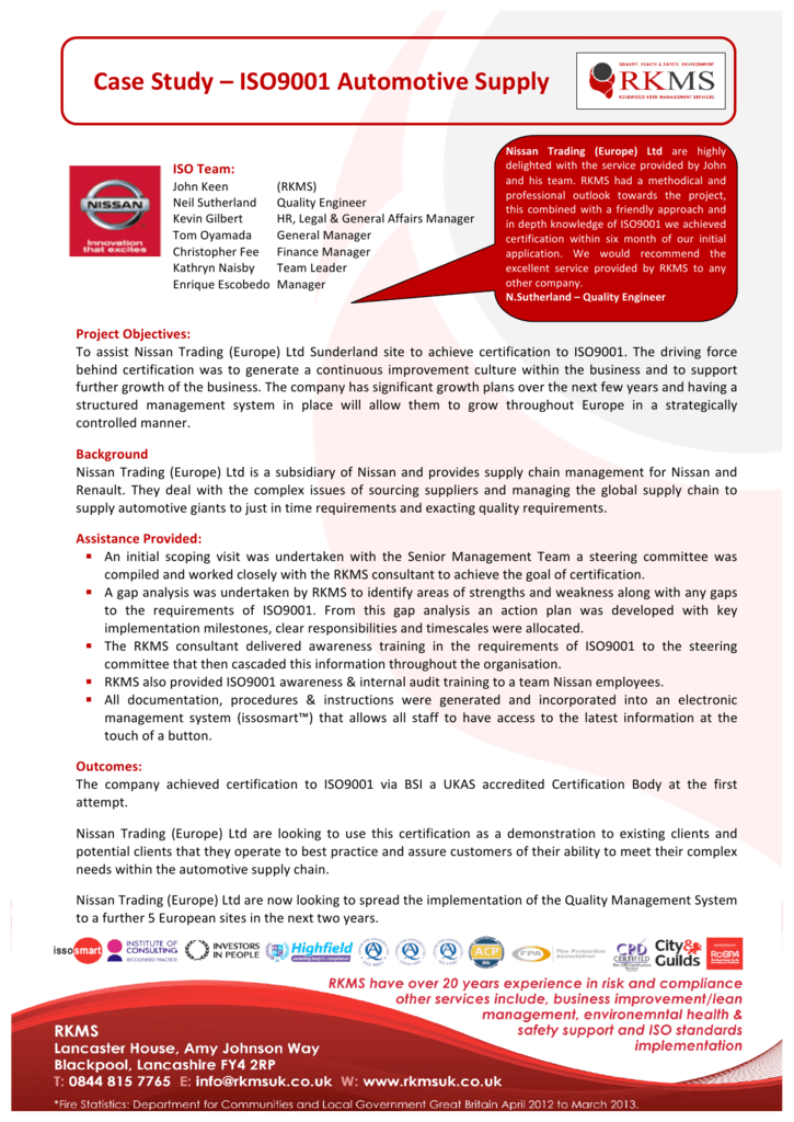 ISO at Nissan Trading Europe Ltd ISO9001