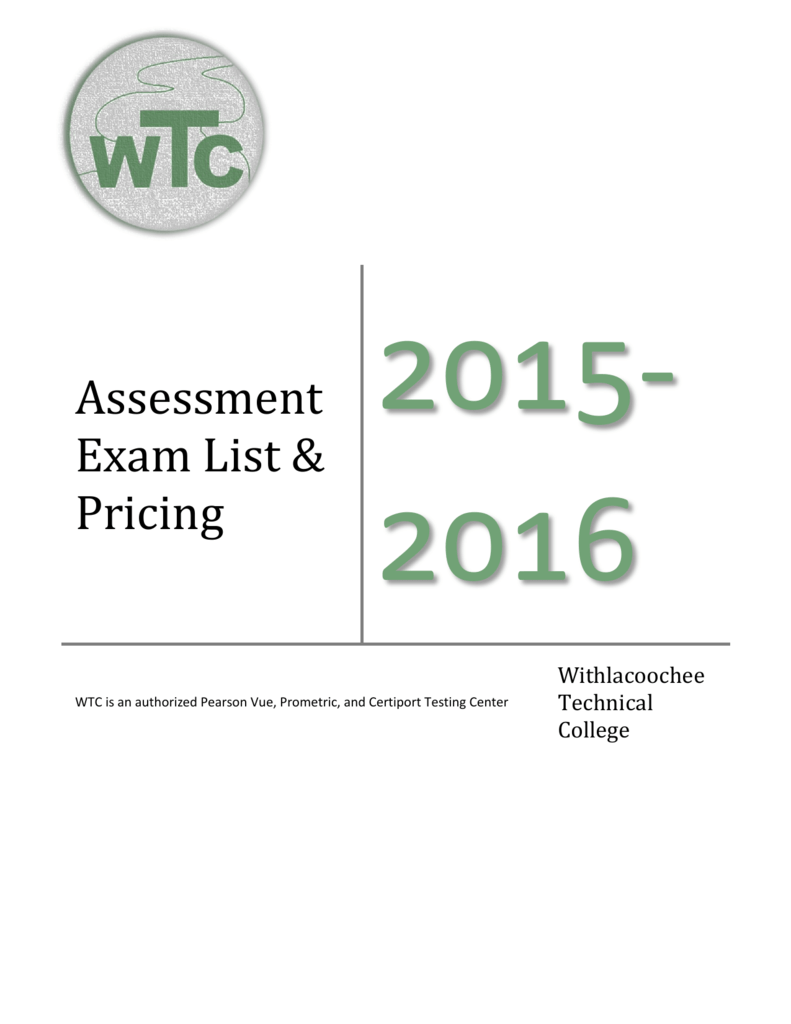 Assessment Exam List & Pricing - Withlacoochee Technical College