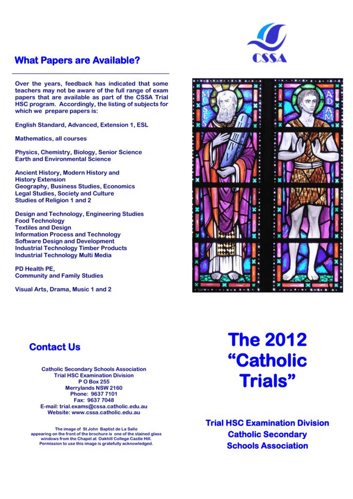 The 2012 Catholic Trials The Catholic Secondary Schools