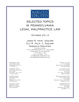 selected topics in pennsylvania legal malpractice law